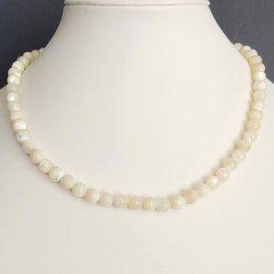White and cream glass bead necklace